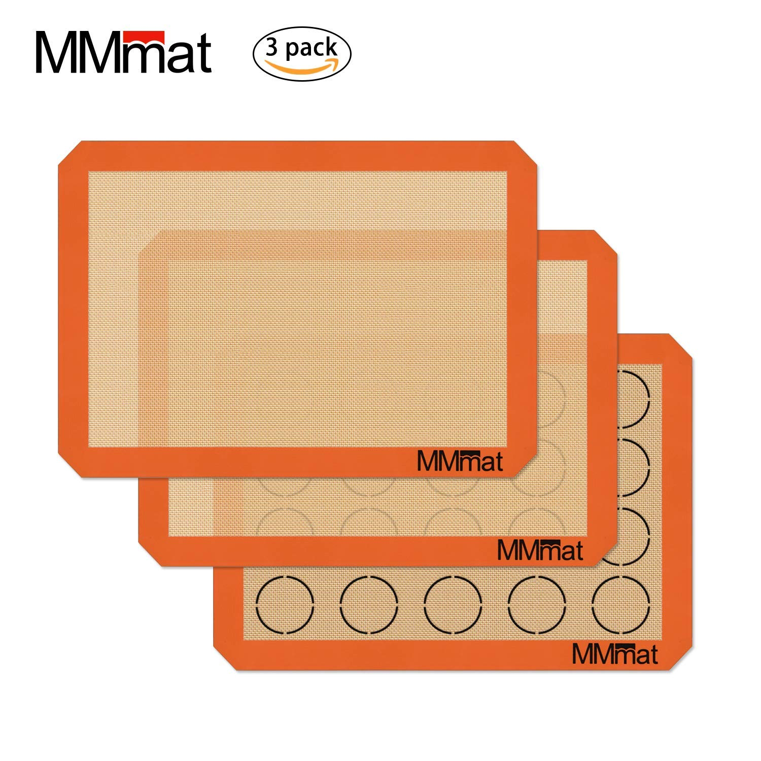 MMmat Silicone Baking Mat - German Silicone Half Sheet Size - 100% Non-Stick Professional Quality - 3 Pack