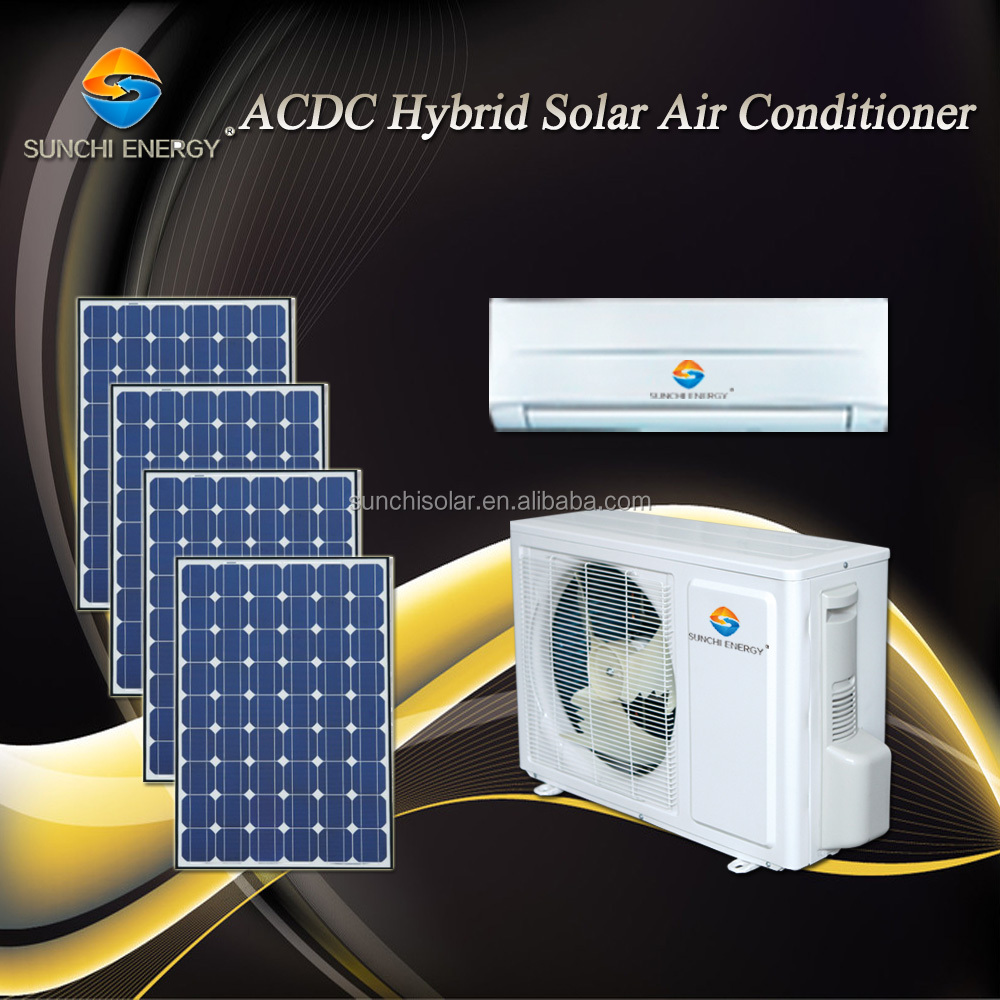 Home use ACDC 90% hybrid wall split 9000btu 12000btu solar power new hot solar air conditioner and water heater