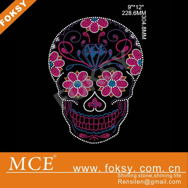 Leed Free Rhinestone Motif with skull Design for clothing
