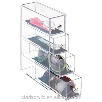 b4f0bf3412e9 Clear Acrylic Watches Sunglasses Eyeglasses 4-Drawer Organizer Drawer Boxes  Storage Case Display Box