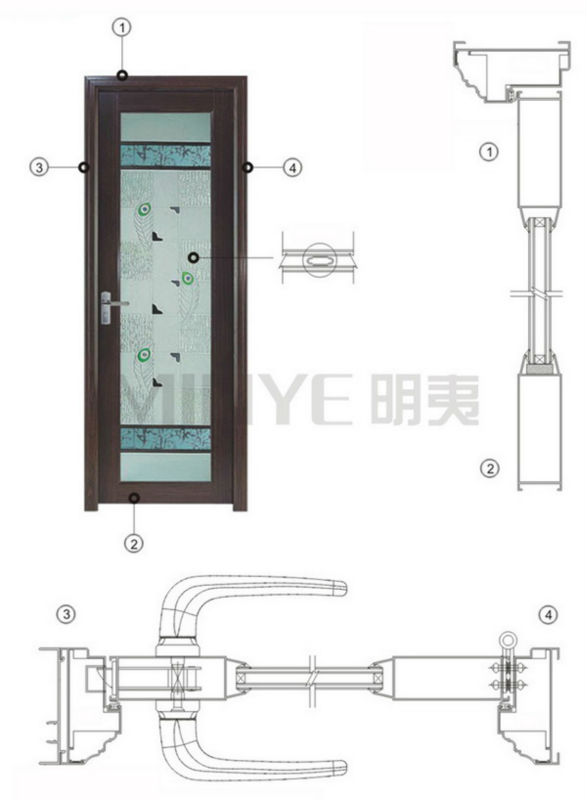 elegant design interior aluminum bathroom door design with ventilation
