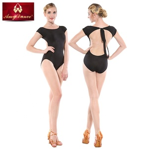 8439d358d7be Bra inside sexy open back bodysuit black ballet dance leotards gymnastics  girls children