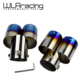 Car Auto Round Exhaust Muffler Tip Stainless Steel Exhaust 1 to 2 Dual Pipe Chrome Trim Modified Car Rear Tail Throat Liner