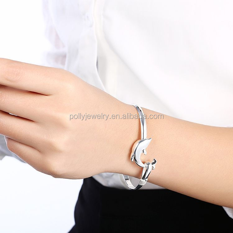 2020 Cute Style 925 Silver Plated Copper Inside Girl's Dolphin Adjustable Bangle