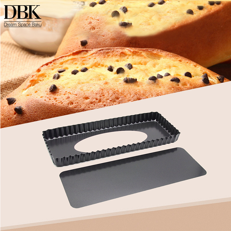 Non Stick Removable Loose Bottom Quiche bakery tray Tart Pie Pan Rectangular Tart Quiche Pan Toast bread Pan with Removable Base