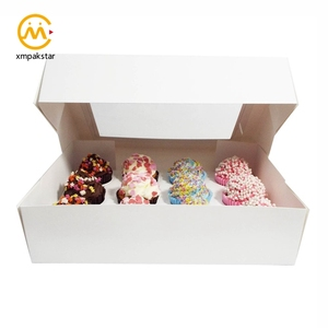 Foldable custom paper cup cake packaging box cupcake boxes with clear window