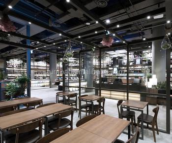 Boek Center Design Interieur Met Houten Boek Planken En Lezen Tafels ...