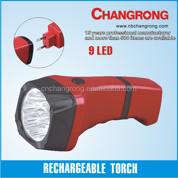 9 LED torch light rechargeable