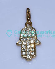 gold pave stone jewish jesus hand charm with cheap price