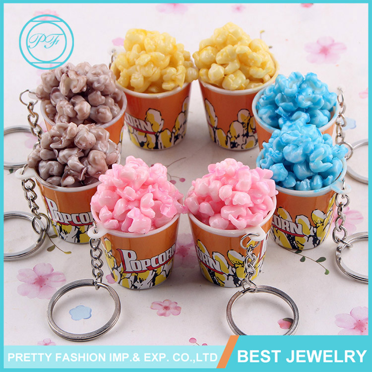 Creative design popcorn shape artificial key chain promotional