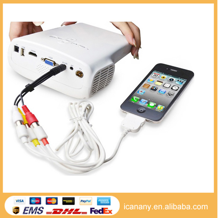 2015 icanany Christmas Gift Best-Selling Mini Projector Support 1080P Ansi 60 Lumens