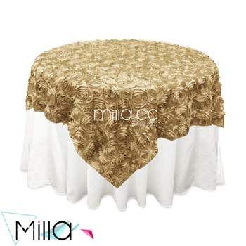 Rosette Satin Tablecloth Rose Wedding Cake Table Overlay