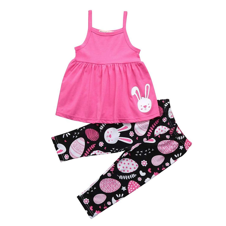 402acc059 Get Quotations · Newborn Girls Easter Eggs Cartoon Rabbit Strap Print Dress  Pants Set