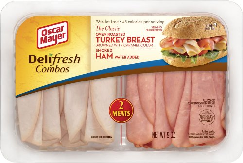 OSCAR MAYER LUNCH MEAT COLD CUTS COMBO DELI FRESH OVEN ROASTED TURKEY BREAST AND SMOKED HAM 9 OZ PACK OF 3