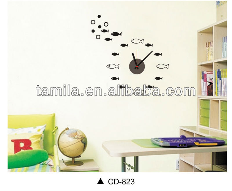 Decoration for home kids cartoon wall sticker numbers diy sticker wall clock