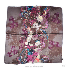 TOROS New design deep color Women's digital print 100% silk scarf