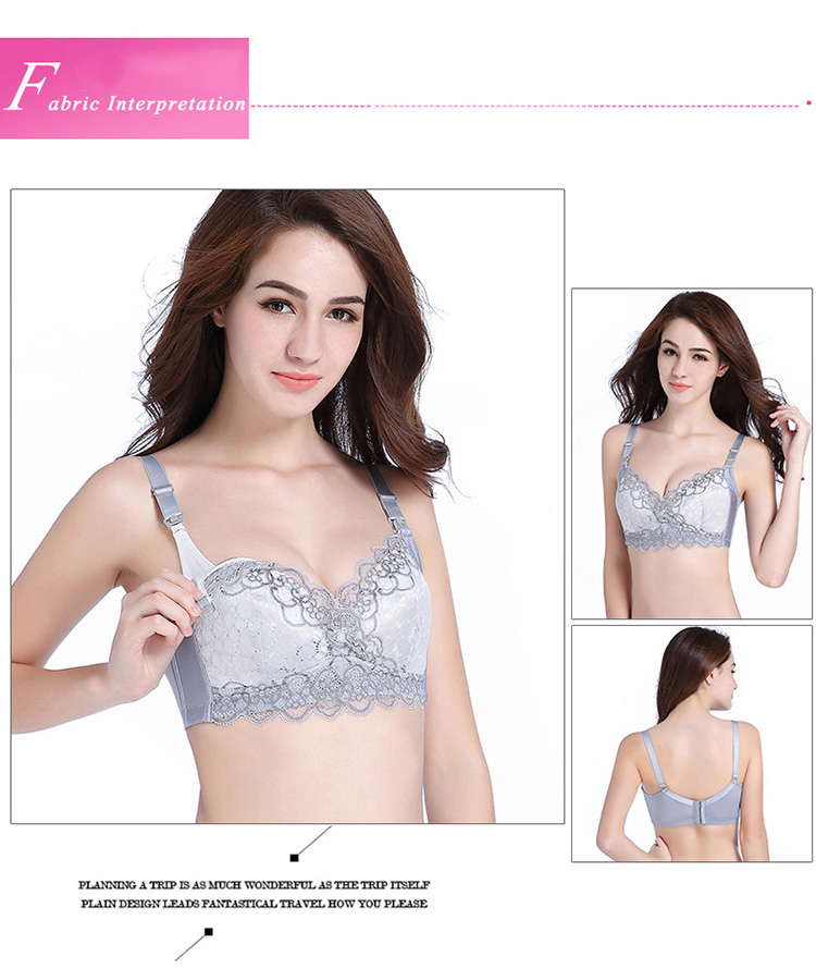 Cotton Lace Wireless Gather Push Up Chest Pregnant Bra Double Nusing Buckles Breastfeeding Bra Plus Size