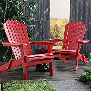 Cape Cod Foldable Adirondack Chairs   Red   Set Of 2   MP076