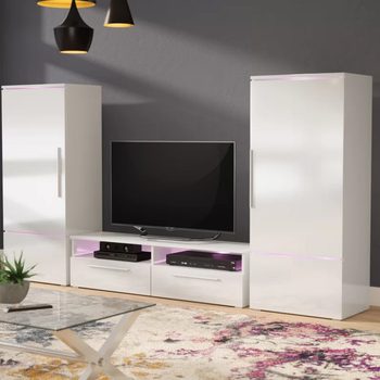 2018 New Style High Glass Tv Stand Cabinet Wall Unit With Led Light