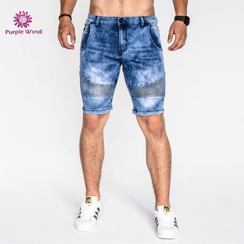c7e6b1dc72 Elastic Waist Blue Denim Men's Jogger Biker Jeans Shorts Pants - Buy ...