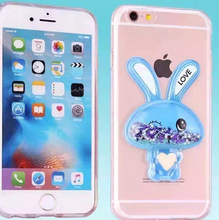 New cute rabbit 3D dynamic liquid quicksand TPU Phone Case many models of mobile phone sets