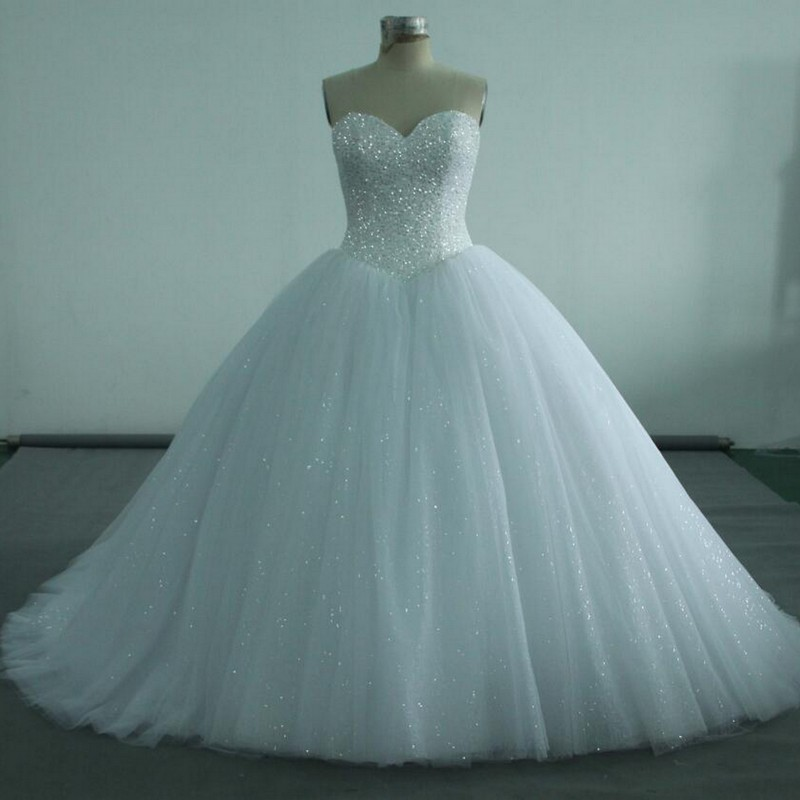 NW1214 Real Sample Ball Gown Beaded Top with Gliter Tulle Skirt Wedding Dress