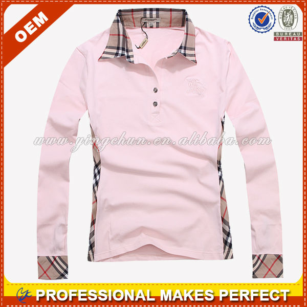 New design long sleeve two color women polo shirt