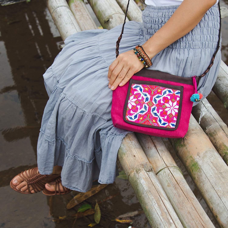 Changnoi Hmong Crossbody Bag, Boho Purse, Vintage Embroidered Sling Bag for Women, Pom Pom Bag, Fair Trade Purse for Women, Gift Purse