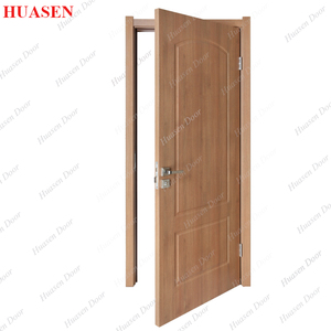 Plastic film facing construction door with plywood