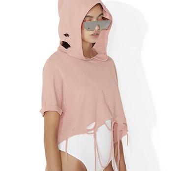 e1c54c4a0a662 X87317a Europe Fashion Design Woman Short Sleeve Plain Blank Hoodies Custom  Ladies Hoodie Ripped Sweatshirts - Buy Custom Hoodies,Blank Hoodie ...