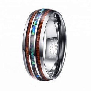 Hawaiian Koa Wood and Abalone Pau'a Shell Inlay Engagement Wedding Tungsten Carbide Ring For Men