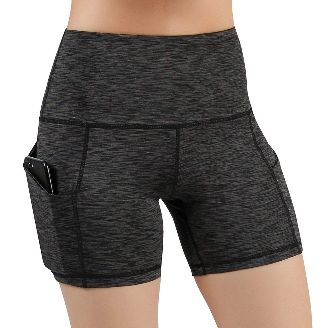 2292b52923 Get Quotations · High Waist Out Pocket Yoga Shorts Tummy Control Workout  Running Stretch Yoga Gym Pants Spandex Athletic