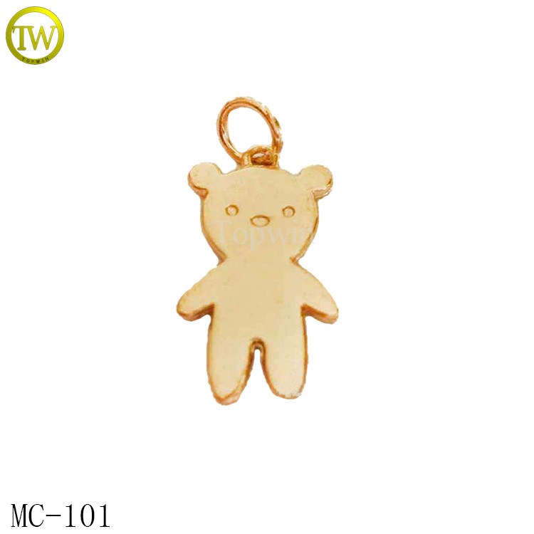 MC101 Lovely bear shape animal metal custom made jewelry tags in golden