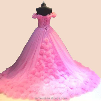 Real Photos High Quality Pink Color Big Ball Gown Wedding Dress 2017 ...
