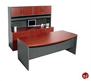"Peblo 72"" Executive Bowfront Office Desk Workstation, Storage Credenza"