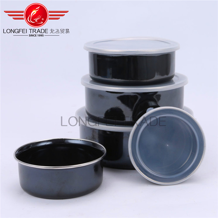 5 pcs enamel / ceramic ice bowl for storage with plastic lid
