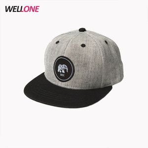 China factory OEM custom your embroidery patch logo 6 panel wool cotton two tone snapback