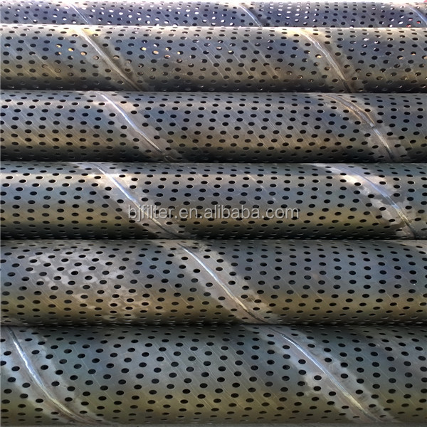 Spiral weld perforated borehole water well casing pipes