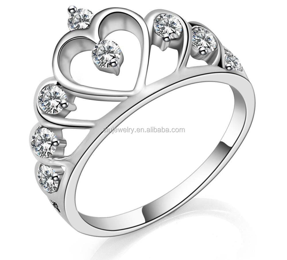 crown tiara statement heart rings genuine white ring rng engagement hand diamond gold