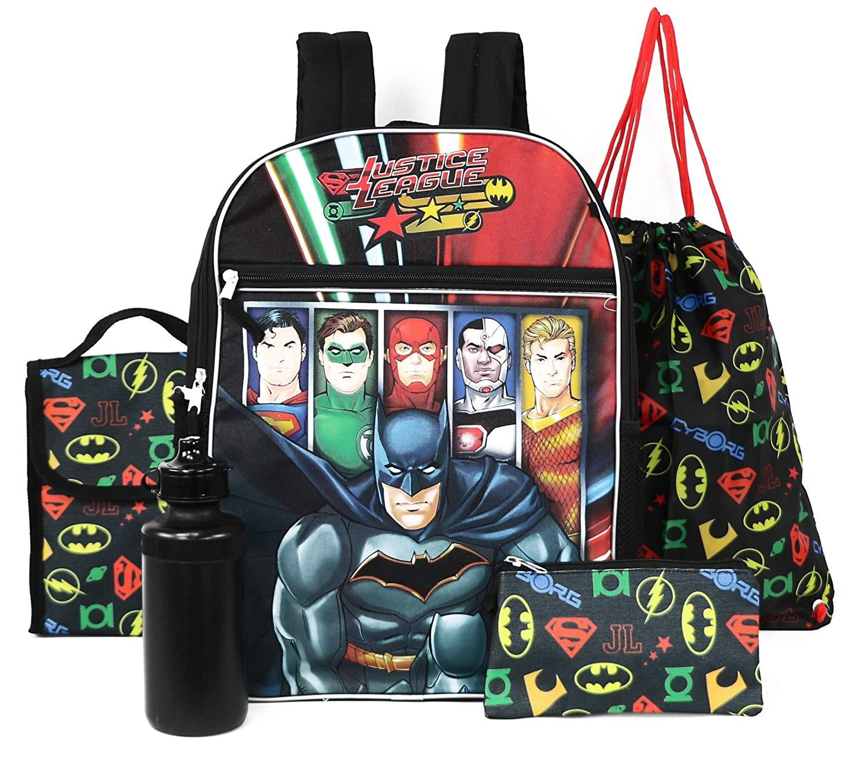 Justice League 5-Piece Backpack Lunchbag Set (Black/Multi)