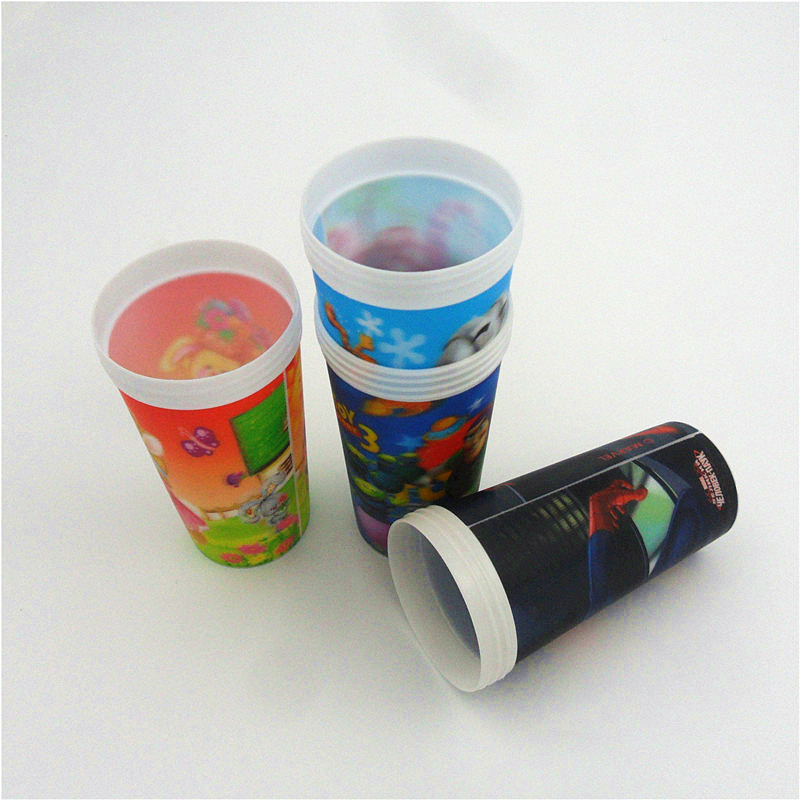 3D lenticular drinking plastic promotional cheap straw cup