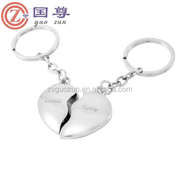 Couple Keychains Metal Romantic/Creative Lovers Heart Personalized keychain keyring key chain metal Heart keychain