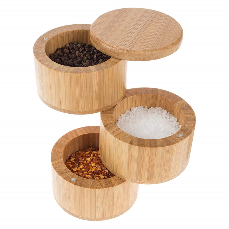 Bamboo triple salt box multi compartment storage container wooden bamboo salt box