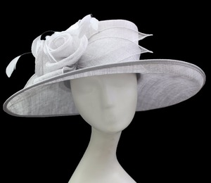 652a2d9377e ABPF Ladies Fancy Derby Wedding Party White Sinamay Church Hat