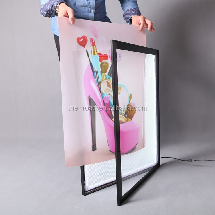 Edgelight single sided aluminum extrusion snap frame with corners advertising acrylic light box