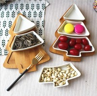 2019 Best Wooden Bamboo Christmas Tree Tray Xmas Promotion Gift