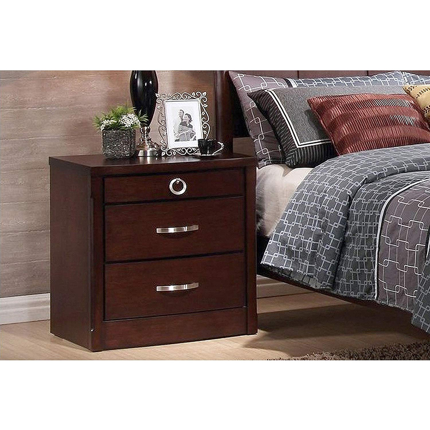Argonne 3-Drawer Wooden Modern Nightstand, Dark Brown, Touch of Elegance, Solid Wood, Antique-Effect Dark Espresso Brown Stain, Silver-Tone Drawer Pulls, Wood Paneling Effect + Expert Guide