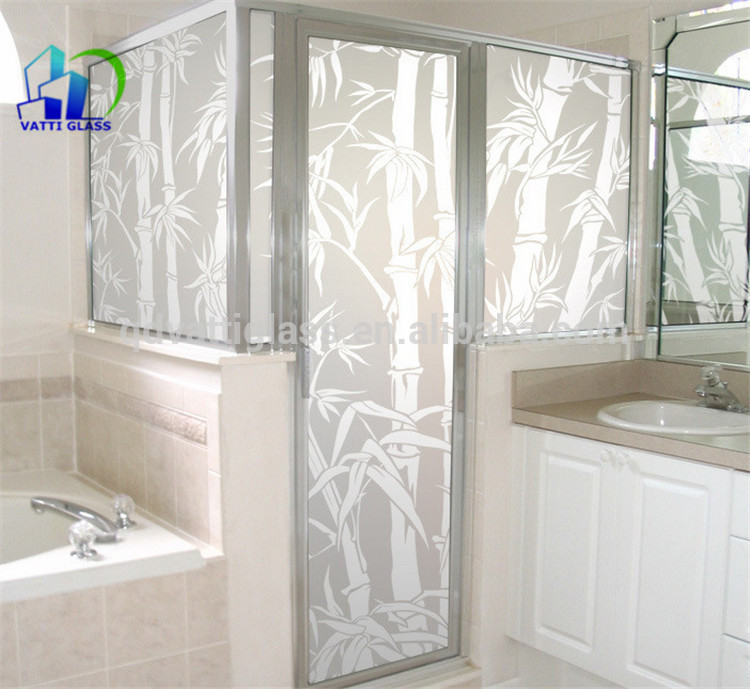 Acid Etched Glass Living Room Glass Partition Design