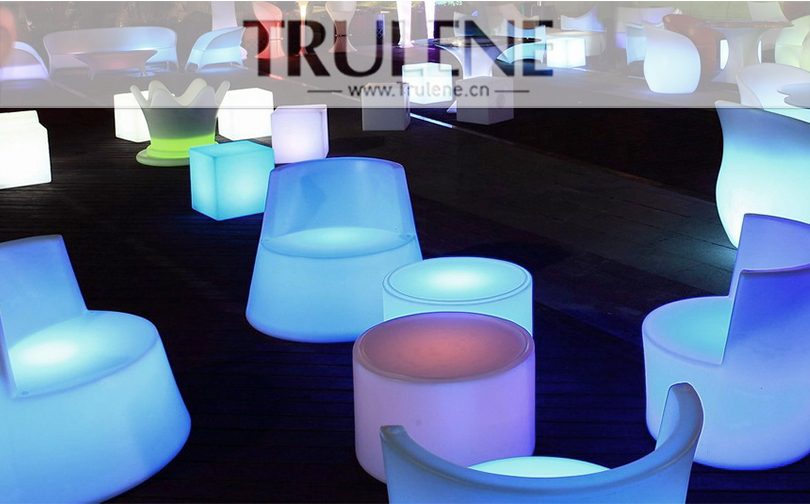 Outdoor garden Club Restaurant indoor luminous PE plastic led light desk table and chairs