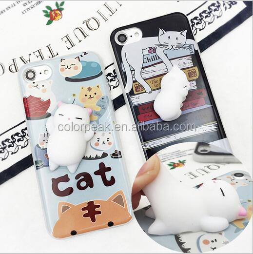 2017 Newest Animal Toys Squishy Back cover 3D Silicone Nail Finger pinch Lazy cat phone case for iPhone 6 6 Plus 7 7Plus